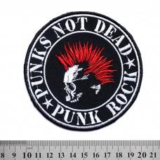 Нашивка вышитая Punks Not Dead